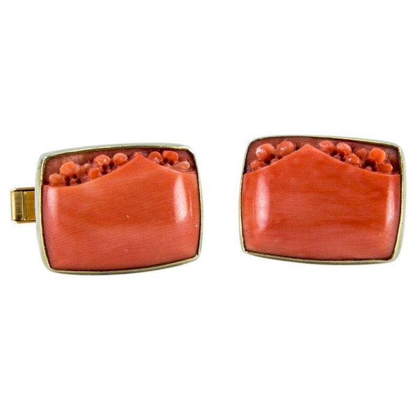Mid Century Modern Mad Men Coral Gold Cufflinks
