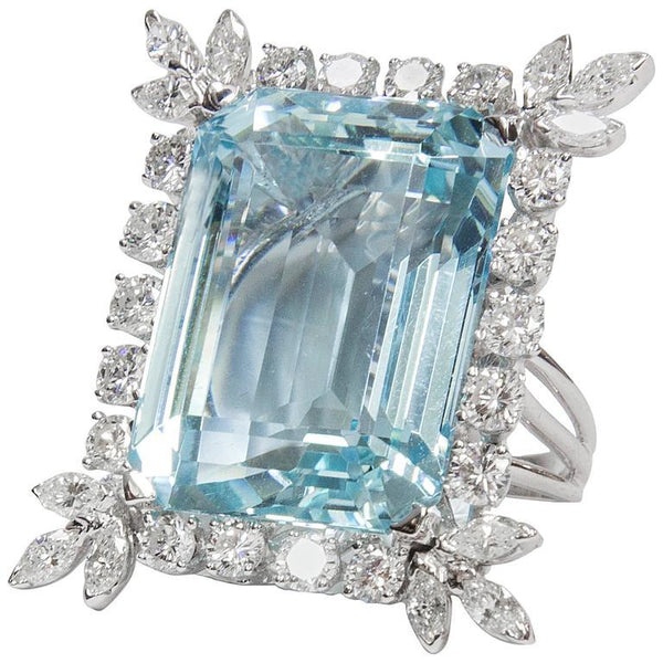 47 Carat Natural Aquamarine Diamond Platinum Ring
