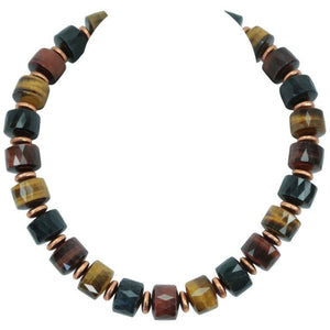 Exquisite Tiger Eye and Copper Statement Necklace