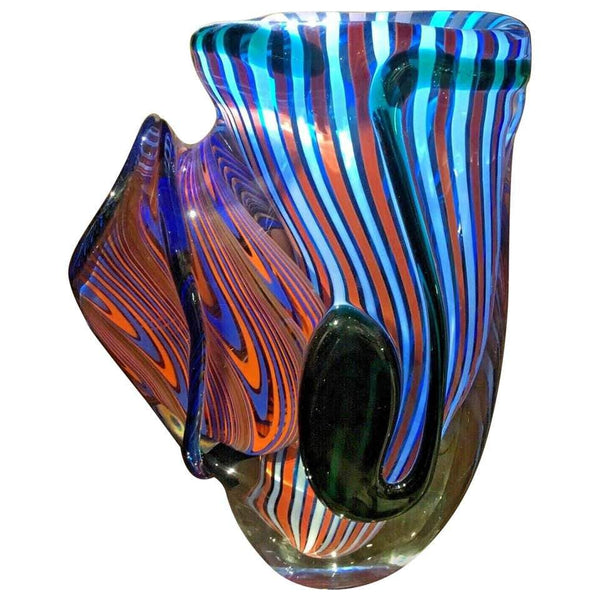 Large Murano Romano Donà Multi-Color Abstract Art Glass Vase Italy Estate Find