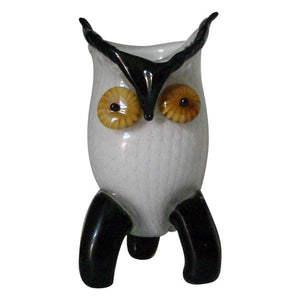 Large Murano White and Black Hoot Owl Art Glass Vase Estate Find
