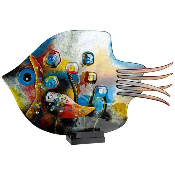 Magnificent Large Abstract Art Glass Multi-Color Fish Statement Sculpture