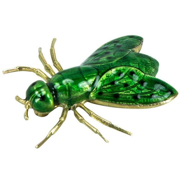 Green Enamel Gold Fly Brooch Pin