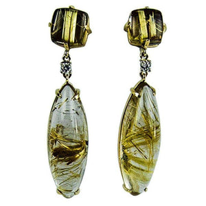 Awesome Rutilated Quartz Diamond Gold Heirloom Quality Drop Earrings