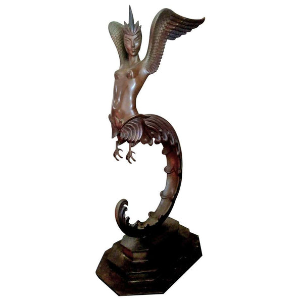 Erté Signed Art Deco Style Bronze Winged Nude Sculpture Titled Firebird