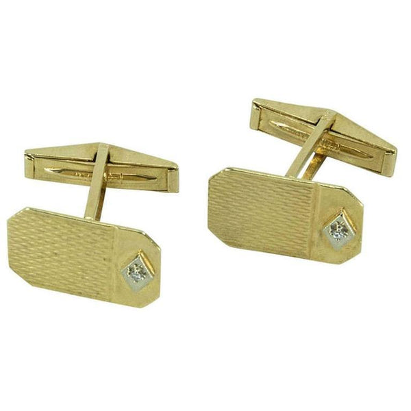 Retro Diamond Gold Cufflinks