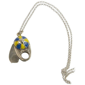 Unique Enamel Jockey Cap Cigar Cutter on Sterling Silver Chain Necklace