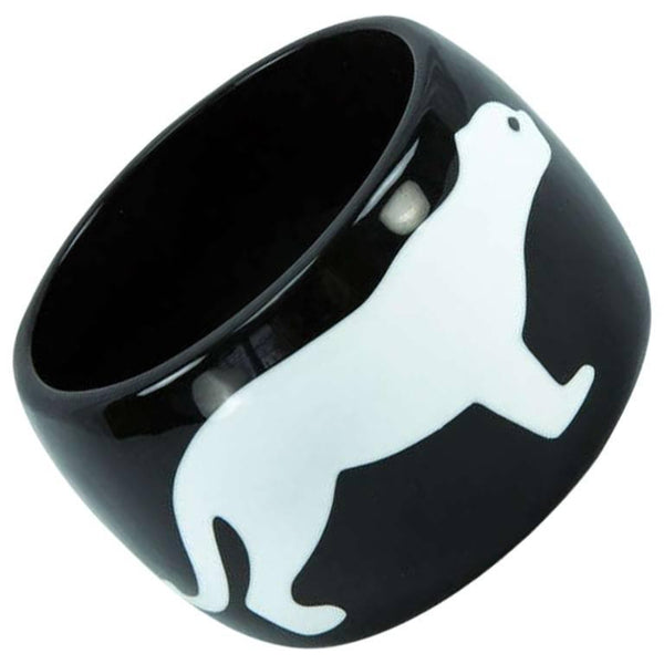 Dynamic Mid Century Modern Large Panther Celluloid Galalith Cuff Bracelet