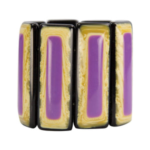 Vibrant Purple and  Banded Celluloid Bracelet