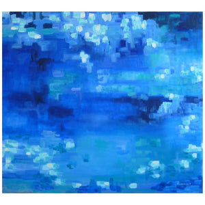 "Michelle Hénault Modern Abstract Painting ""Le Grand Bleu/The Big Blue"", 2015"