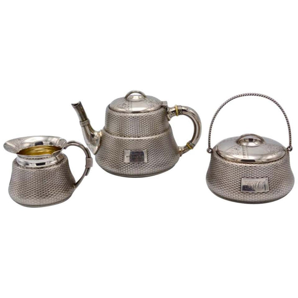 Unique Wood and Hughes 3-Piece Sterling Silver Japaneseque Basket-Weave Tea Set