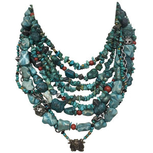 Turquoise Coral Sterling Silver Multi-Strand Necklace
