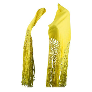 Golden Yellow Wool Hand Woven Silk Fringe Shawl Wrap Estate Find