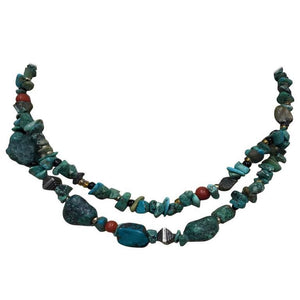 Turquoise Coral Sterling Silver Double Strand Necklace