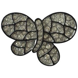 Signed KJL Kenneth Jay Lane Mariposa Crystal Black Enamel Butterfly Brooch Pin