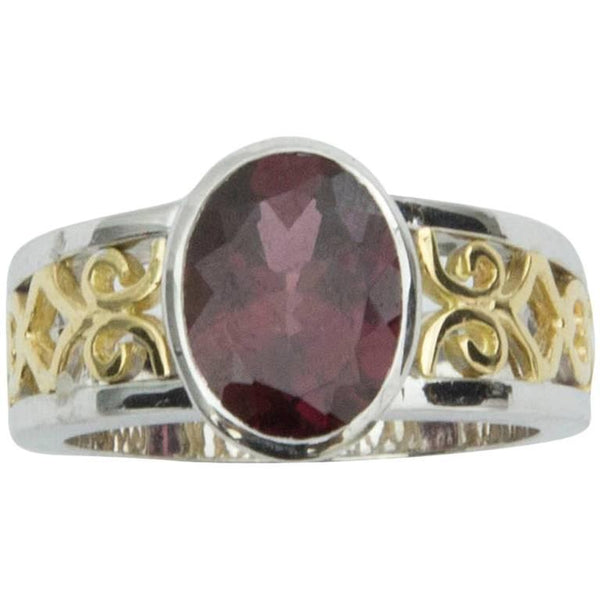 3.3 Carat Rubellite Tourmaline Two Color Gold Lattice Statement Ring