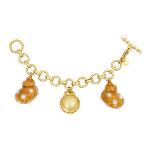 DOMINIQUE AURIENTIS Paris Orange Enamel Faux Pearl Shell Charm Bracelet