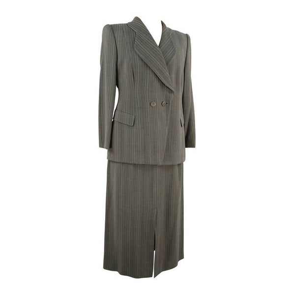 Giorgio Armani Black and Taupe Suit Size 46