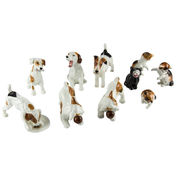 Royal Doulton Collection of Ten Dogs and Cats Porcelain Figurines England