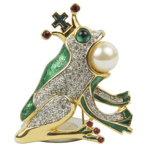 Butler Wilson Frog and Crown Enamel Brooch Pin England