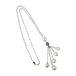Striking CZ Sterling Silver White Pearl Drops Tassel Necklace