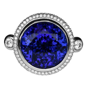 Stunning 37.12 Carat Tanzanite and Diamond Platinum Ring Estate Fine Jewelry