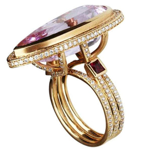 19.15 Carat Pink Kunzite Diamond Ruby Ring Estate Fine Jewelry