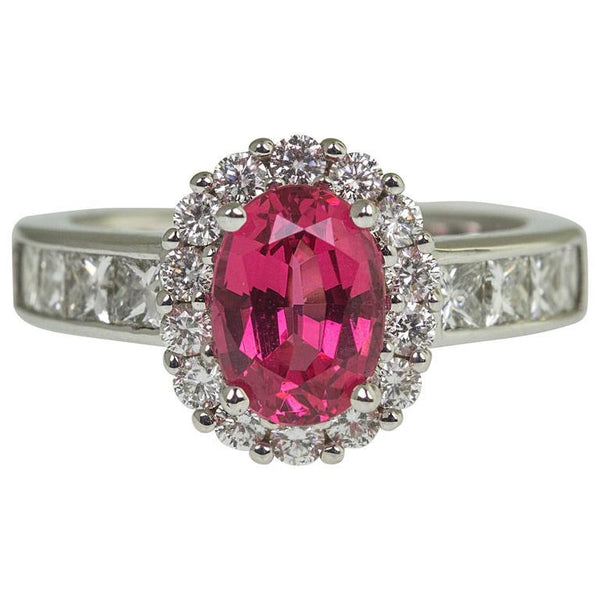 2.08 Carat Red Spinel Diamond Statement Engagement Ring