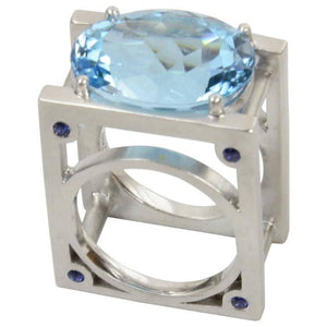 23.62 Carat Sky Blue Topaz and Sapphire Statement Ring