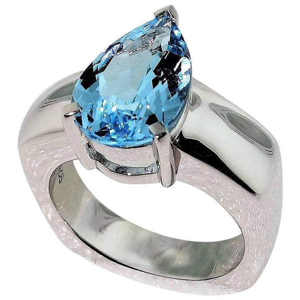 2.90 Carat Blue Topaz Diamond Solitaire Ring