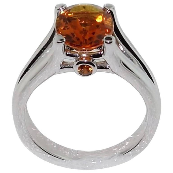 2.24 Carat Citrine Sapphire Silver Engagement Ring