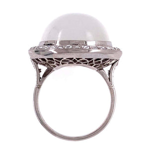 25 Carat Moonstone Diamond Platinum Cocktail Ring Fine Estate Jewelry