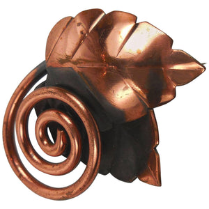 Rebajes Mid-Century Modern Coiled Leaf Copper Brooch Pin