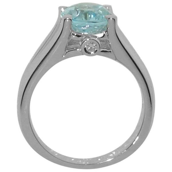 2.90 Carat Blue Topaz Diamond Solitaire Engagement Ring