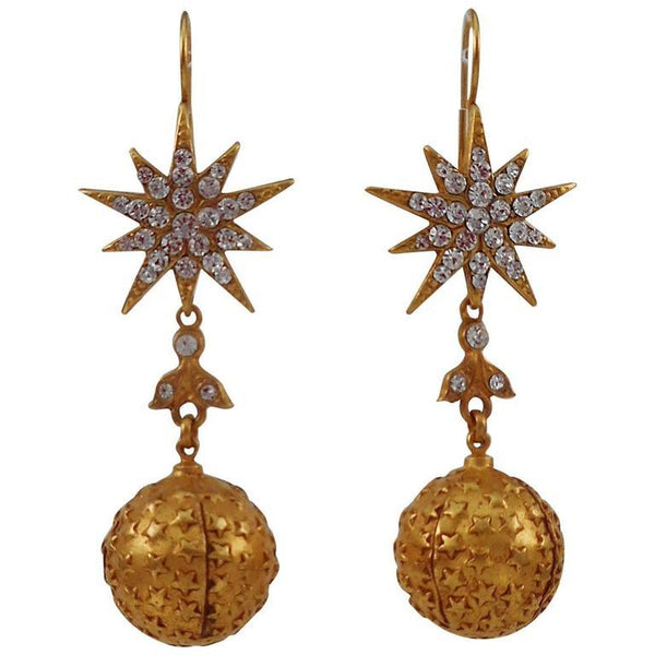 Askew London Star and Ball Drop Gilt CZ Earrings