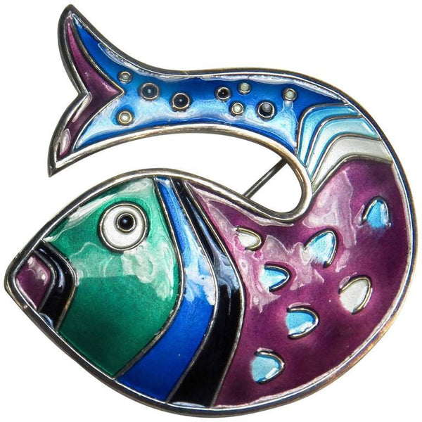 David Andersen Stylized Fish Enamel Sterling Silver Brooch Pin