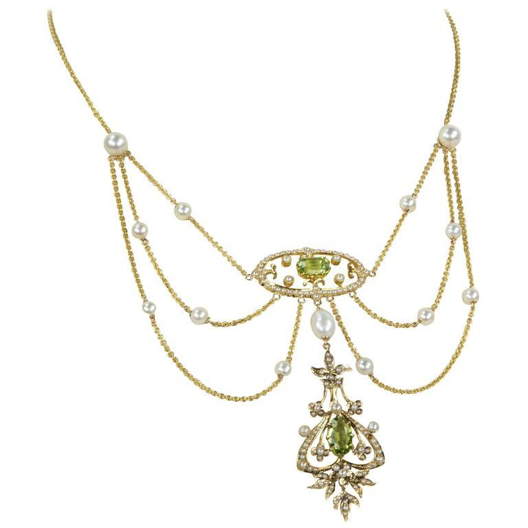 9ced4f455ec Antique Edwardian Peridot Pearl Gold Swag Necklace