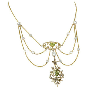 Antique Edwardian Peridot Pearl Gold Swag Necklace