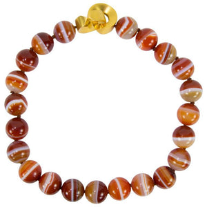 Beautiful Large Carnelian Banded Agate Bead Necklace