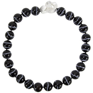 Beautiful Large Black Banded Agate Bead Necklace