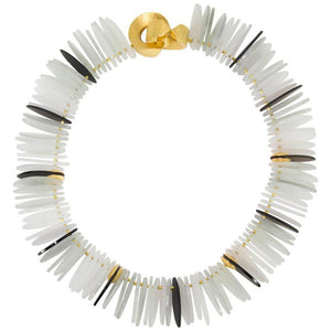 Striking Black Obsidian and Crystal Gilt Sterling Silver Runway Necklace