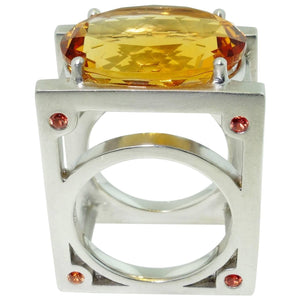 18 Carat Oval Facet-Cut Citrine Sapphire Statement Ring