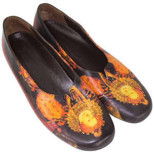 Icon 'Mary Queen of Scots' Leather Flat Shoes Size 9