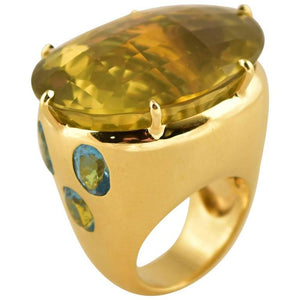 Tony Duquette Fabulous Bold Citrine and Apatite Gold Ring