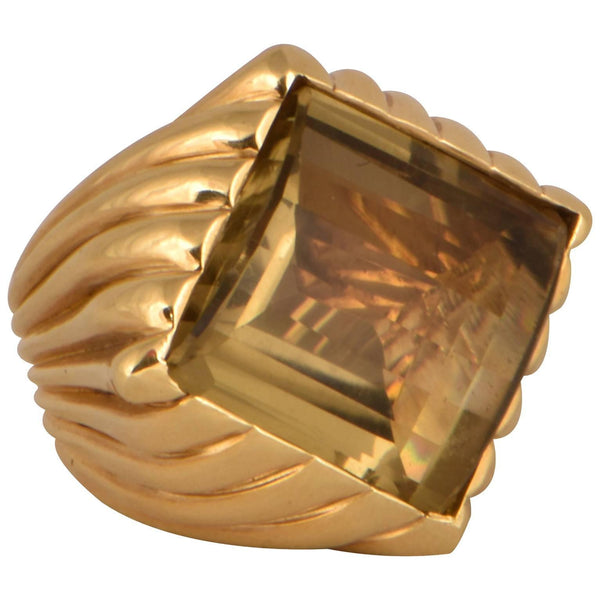 32.20 Carat Citrine Tony Duquette Solitaire Gold Ring