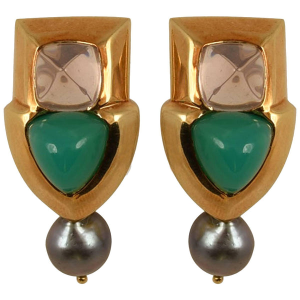 Fabulous Tony Duquette Rose Quartz Chrysoprase Black Pearl Gold Earrings