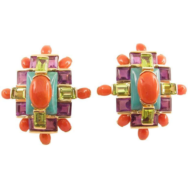 Tony Duquette Coral Turquoise Amethyst Peridot Gold Statement Earrings