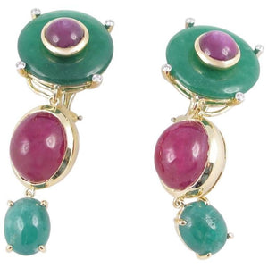 Exquisite Tony Duquette Ruby, Star Ruby, Agate and Diamond Gold Earrings