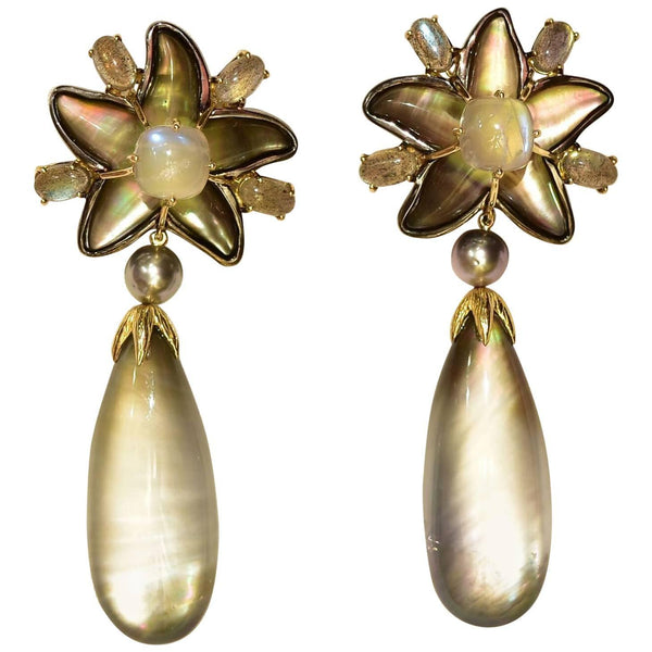 Tony Duquette Moonstone Crystal Stars and Drops Black Pearl Gold Earrings