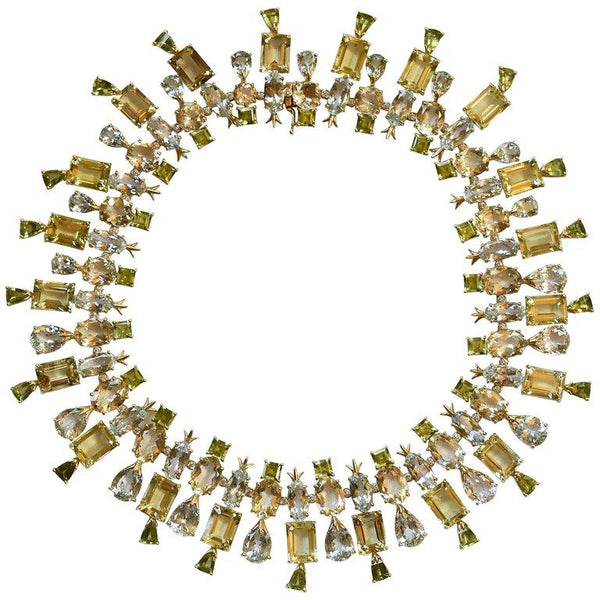 Tony Duquette Aquamarine Citrine Peridot Scapolite Heirloom Gold Necklace